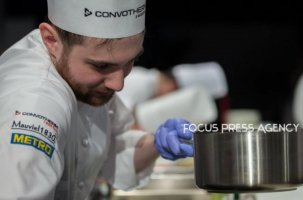 The chef Adam Pohner of Team Hungary cooking at Bocuse d'Or Grand Finale - Day 1 on Jan 29, 2019 at Eurexpo in Lyon, France.