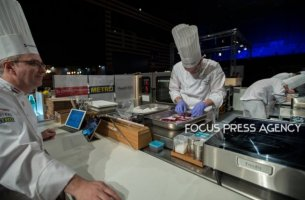Team Hungary cooking at Bocuse d'Or Grand Finale - Day 1 on Jan 29, 2019 at Eurexpo in Lyon, France.