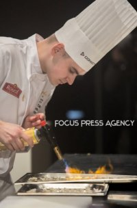 The commis Richard Csillag of Team Hungary prepares at Bocuse d'Or Grand Finale - Day 1 on Jan 29, 2019 at Eurexpo in Lyon, France.