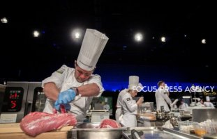 The chef Emiliano Schobert of Team Argentina cooking at Bocuse d'Or Grand Finale - Day 1 on Jan 29, 2019 at Eurexpo in Lyon, France.