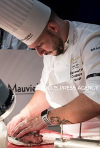 The chef Luiz Filipe de Azevedo E Souza of Team Brazil cooking at Bocuse d'Or Grand Finale - Day 1 on Jan 29, 2019 at Eurexpo in Lyon, France.