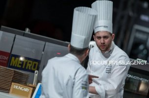 The chef Adam Pohner and his coach Victor Segal of Team Hungary chat during the cooking at Bocuse d'Or Grand Finale - Day 1 on Jan 29, 2019 at Eurexpo in Lyon, France.