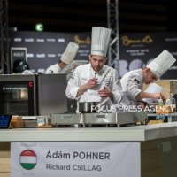 The chef Adam Pohner of Team Hungary tastes during the cooking at Bocuse d'Or Grand Finale - Day 1 on Jan 29, 2019 at Eurexpo in Lyon, France.