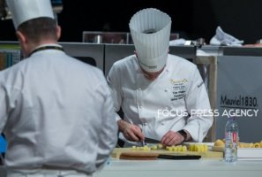 The chef Tom Geoffrey Phillips of Team United Kingdom cooking at Bocuse d'Or Grand Finale - Day 1 on Jan 29, 2019 at Eurexpo in Lyon, France.
