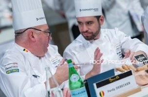 Ferdy Debecker the President of Team Belgium and Marcelino Gomez the President of Team Argentina discuss during the Bocuse d'Or Grand Finale 2019 - Day 1 on Jan 29, 2019 at Eurexpo in Lyon, France.