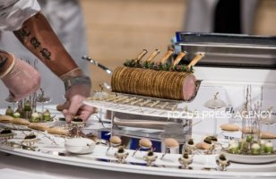 Them on Tray of Team Norway on the Bocuse d'Or Grand Finale 2019 - Day 1 on Jan 29, 2019 at Eurexpo in Lyon, France.