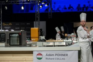 The chef Adam Pohner of Team Hungary chill next the empty Hungarian kitchen at Bocuse d'Or Grand Finale - Day 1 on Jan 29, 2019 at Eurexpo in Lyon, France.