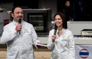 Angela May and Vincent Ferniot speak before award ceremony during the Bocuse d'Or Grand Finale - Day 2 on Jan 30, 2019 at Eurexpo in Lyon, France.