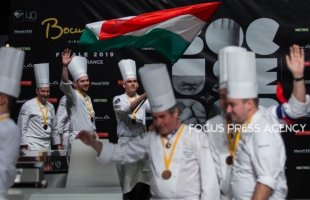 Adam Pohner and Team Hungary arrive to the award ceremony during the Bocuse d'Or Grand Finale 2019 - Day 2 on Jan 30, 2019 at Eurexpo in Lyon, France.