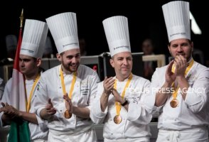 Adam Pohner and Team Hungary on the award ceremony during the Bocuse d'Or Grand Finale 2019 - Day 2 on Jan 30, 2019 at Eurexpo in Lyon, France.