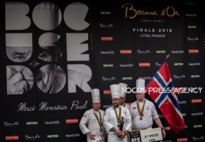 The 3rd place Chef Christian André Pettersen and Team Norway on the podium at the Bocuse d'Or Grand Finale on Jan 30, 2019 at Eurexpo in Lyon, France.