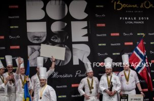 Chef Christian André Pettersen and Team Norway has a 3rd place and Chef Sebastian Gibrand and Team Sweden on the podium at the Bocuse d'Or Grand Finale on Jan 30, 2019 at Eurexpo in Lyon, France.