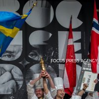 The winner Chef Kenneth Toft-Hansen and Team Danemark calebrate on the podium during the award ceremony at the Bocuse d'Or Grand Finale 2019 - Day 2 on Jan 30, 2019 at Eurexpo in Lyon, France.