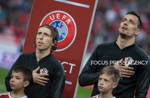 Luka Modric of Croatia during the National anthem  before the Hungary and Croatia European Qualifying match at Groupama stadium on March 24, 2019 in Budapest, Hungary.