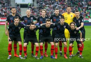 Team Croatia before the Hungary and Croatia European Qualifying match at Groupama stadium on March 24, 2019 in Budapest, Hungary.