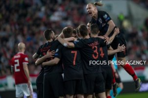 Team Croatia celebrating their first goal during the Hungary and Croatia European Qualifying match at Groupama stadium on March 24, 2019 in Budapest, Hungary.
