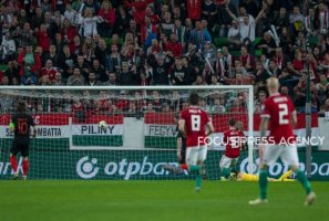 Adam Szalai of Hungary shots his first goal during the Hungary and Croatia European Qualifying match at Groupama stadium on March 24, 2019 in Budapest, Hungary.