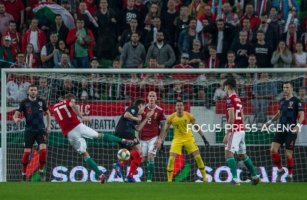 Roland Varga of Hungary big shoot during the Hungary and Croatia European Qualifying match at Groupama stadium on March 24, 2019 in Budapest, Hungary.