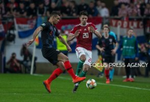 Dejan Lovren of Croatia competes for the ball with Dominik Szoboszlai of Hungary during the Hungary and Croatia European Qualifying match at Groupama stadium on March 24, 2019 in Budapest, Hungary.