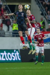 Dejan Lovren of Croatia competes for the ball with Botond Baráth of Hungary during the Hungary and Croatia European Qualifying match at Groupama stadium on March 24, 2019 in Budapest, Hungary.