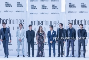 Formula 1 drivers present the creations of Christopher Bates at the Amber Lounge Charity Fashion Show 2019 in Monte-Carlo, Monaco.