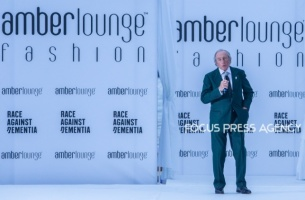 Sir Jackie Stewart opens the Charity Auction during the the Amber Lounge Charity Fashion Show 2019 in Monte-Carlo, Monaco.