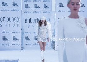 Models present a creation of Yolancris at the Amber Lounge Charity Fashion Show 2019 in Monte-Carlo, Monaco.