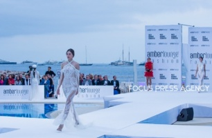 Model presents a creation of Yolancris at the Amber Lounge Charity Fashion Show 2019 in Monte-Carlo, Monaco.