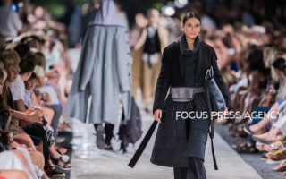 Models present a creation by Hungarian designer NUBU – AW 2020 collection on Aug 19, 2019 at Balatonfüred Fashion Night in Balatonfüred, Hungary.