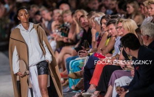 Model presents a creation by Hungarian designer NUBU – AW 2020 collection on Aug 19, 2019 at Balatonfüred Fashion Night in Balatonfüred, Hungary.