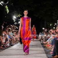 Models present a creation by Hungarian designer Katti Zoób – AW 2020 collection on Aug 19, 2019 at Balatonfüred Fashion Night in Balatonfüred, Hungary.