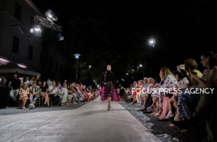 Model presents a creation by Hungarian designer Katti Zoób – AW 2020 collection on Aug 19, 2019 at Balatonfüred Fashion Night in Balatonfüred, Hungary.