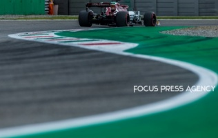 Kimi Räikkönen of Finland and Alfa Romeo Racing F1 Team driver goes during the qualification session at Formula 1 Gran Premio Heineken on Sept 07, 2019 in Monza, Italy.