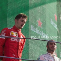 3rd Lewis Hamilton and the winner Charles Leclerc on the podium after the race at Formula 1 Gran Premio Heineken on Sept 08, 2019 in Monza, Italy.