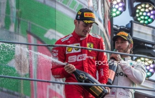 The winner Charles Leclerc of Monte-Carlo and Scuderia Ferrari driver celebrates his victory on the podium after the race at Formula 1 Gran Premio Heineken on Sept 08, 2019 in Monza, Italy.