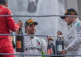3rd Lewis Hamilton, 2nd Valtteri Bottas and the winner Charles Leclerc on the podium after the race at Formula 1 Gran Premio Heineken on Sept 08, 2019 in Monza, Italy.