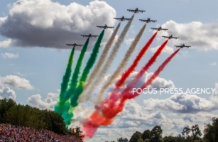 Air show before the race at Formula 1 Gran Premio Heineken on Sept 08, 2019 in Monza, Italy.