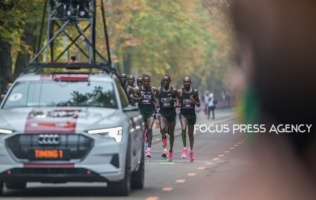 Eliud Kipchoge and pacers run during INEOS 159 Challenge on Oct 12, 2019 at Vienna, Austria.