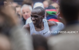 Eliud Kipchoge celebrates his victory after he made history by running sub 2 hr marathon (1:59:40) during INEOS 159 Challenge on Oct 12, 2019 at Vienna, Austria.