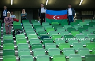 Almost empty arena before the Hungary and Azerbaijan European Qualifier match at Groupama stadium on Oct 13, 2019 in Budapest, Hungary.