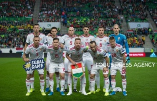 Team Hungary before the Hungary and Azerbaijan European Qualifier match at Groupama stadium on Oct 13, 2019 in Budapest, Hungary.