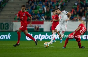 Dominik Szoboszlai of Hungary competes for the ball with Richard Almeida of Azerbaijan during the Hungary and Azerbaijan European Qualifier match at Groupama stadium on Oct 13, 2019 in Budapest, Hungary.