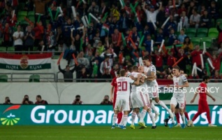 Hungarian Team celebrate their goal during the Hungary and Azerbaijan European Qualifier match at Groupama stadium on Oct 13, 2019 in Budapest, Hungary.