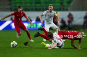 Gergo Lovrencsics of Hungary competes for the ball with Richard Almeida of Azerbaijan during the Hungary and Azerbaijan European Qualifier match at Groupama stadium on Oct 13, 2019 in Budapest, Hungary.