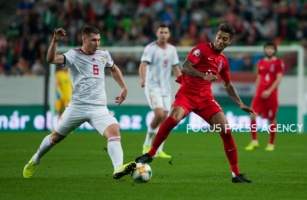 Willi Orban of Hungary competes for the ball with Eddy of Azerbaijan during the Hungary and Azerbaijan European Qualifier match at Groupama stadium on Oct 13, 2019 in Budapest, Hungary.