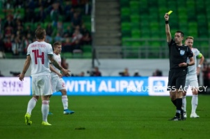 Gergo Lovrencsics of Hungary got his first yellow card during the Hungary and Azerbaijan European Qualifier match at Groupama stadium on Oct 13, 2019 in Budapest, Hungary.