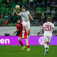 Adam Szalai of Hungary competes for the ball with Badavi Hüseynov of Azerbaijan during the Hungary and Azerbaijan European Qualifier match at Groupama stadium on Oct 13, 2019 in Budapest, Hungary.
