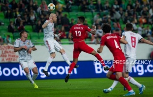 Botond Baráth of Hungary competes for the ball with Eddy of Azerbaijan during the Hungary and Azerbaijan European Qualifier match at Groupama stadium on Oct 13, 2019 in Budapest, Hungary.