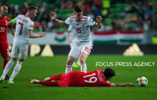 Roland Sallai of Hungary competes for the ball with Eddy of Azerbaijan during the Hungary and Azerbaijan European Qualifier match at Groupama stadium on Oct 13, 2019 in Budapest, Hungary.