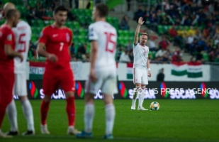 Balazs Dzsudzsák of Hungary preparing for the free kick during the Hungary and Azerbaijan European Qualifier match at Groupama stadium on Oct 13, 2019 in Budapest, Hungary.